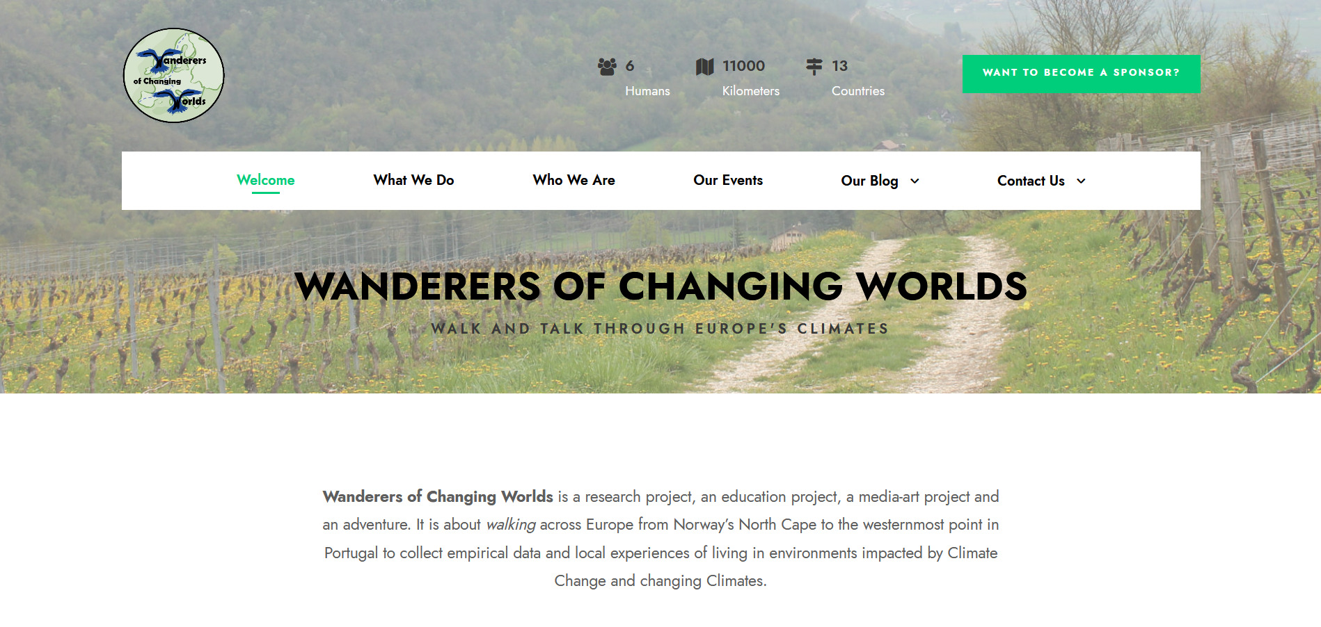 Climate Walk by the Wanderers of Changing Worlds